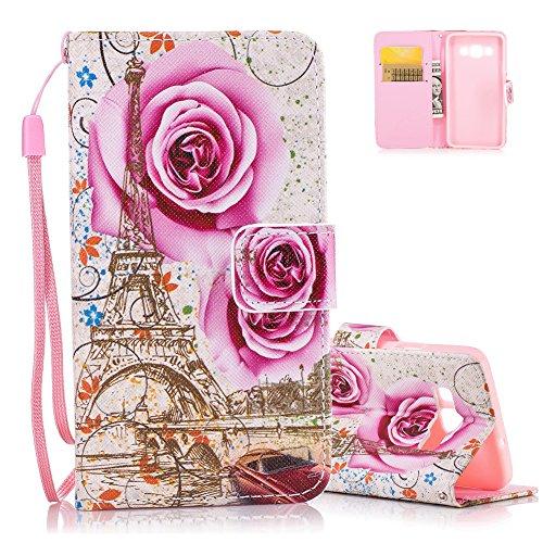 Aeeque Samsung A3 2015 Cover, Custodia a Libro per Samsung Galaxy A3 (Modello 2015) Design Rosa Fiore e Torre Eiffel Portafoglio con Magnetica Supporto Funzione e Slot per Carte Flip Cover Bumper