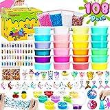 Theefun Slime Kit, Kit Slime 108PCS, 24 Colori Slime Kit Includere Polvere Glitter, Fetta di Frutta, Sfere di Schiuma, Fabbrica Slime per Ragazze Ragazzi, Regalo di Compleanno, Regali per Bambini
