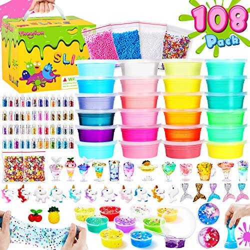 Slime Kit, Theefun Slime 108PCS, 24 colores slime para niñas niños, Fabrica de slime con Polvos Brillantes, Bolas de Espuma, Regalo de cumpleaños, el día del niño, Día de los tres Reyes, Navidad
