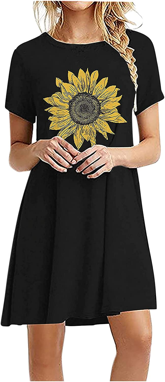 Toeava Summer Dresses for Women, Women's Fashion Flower Print Swing Dresses Daily Plain Beach Party Dress T Shirt Dress
