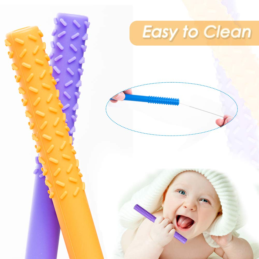 Dishwasher Safe 6.8in 5 Pack Baby Soothing Teether Toy Hollow Teether Tubes Honboom Soft Silicone Teething Tubes Chew Straw Toy for Babies 0-12 Months with a Cleaning Brush