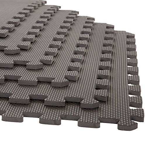 Foam Mat Floor Tiles, Interlocking EVA Foam Padding by Stalwart – Soft Flooring for Exercising, Yoga, Camping, Playroom – 6 Pack, .375 inches thick, 24' X 24' X 0.375', Gray, Model:75-ST6004