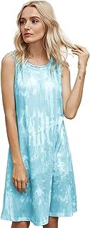 Womens Tie Dye Printed Casual Sleeveless Dresses