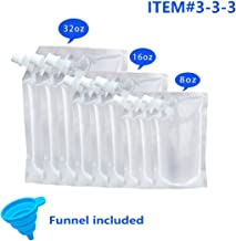 Concealable Plastic Flasks for Liquor With Funnel, Cruise Pouch Kit 9 Pieces Reusable Drinking Flasks (3x32oz, 3x16oz, 3x8oz)