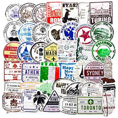 Passport Stamp Stickers Pack (50 Pcs) Visa Immigration Stamp Decals for Laptop Ipad Car Luggage Water Bottle Helmet Truck (GlibertVillageGoods)