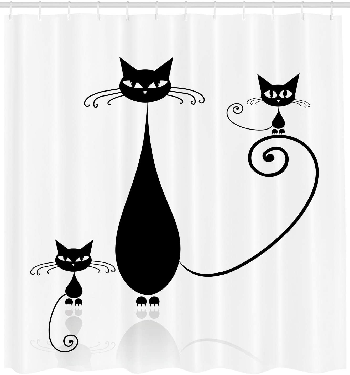 75 Inches Long Ambesonne Cat Shower Curtain Fabric Bathroom Decor Set with Hooks Cat Jumping in The Air Catching The Moon at Night Sky with Stars Fantasy Artwork Blue Magenta
