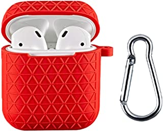 Santo Airpods Case, Protective Thicken Airpods Cover Soft Silicone Chargeable Headphone Case with Anti-Lost Carabiner for ...