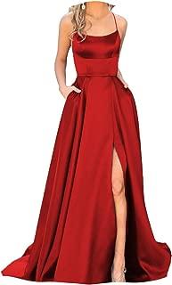 Fanciest Women's Halter Slit Prom Dress Long Backless Evening mal Gowns