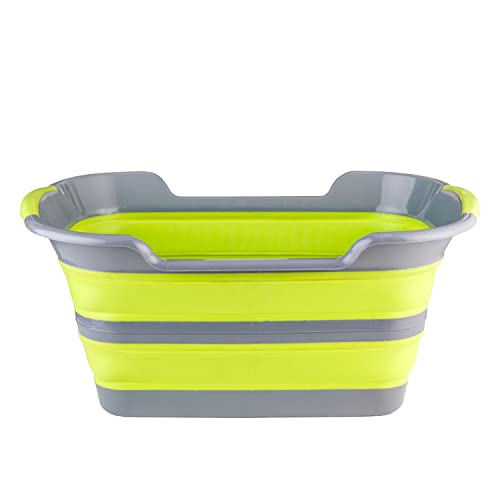 Collapsible Plastic Laundry Basket AUKEO Large Folding Storage Pop Up Space Saving Storage Container Organizer Portable Washing Tub for Kids Toys or College Dorm Rooms Gray
