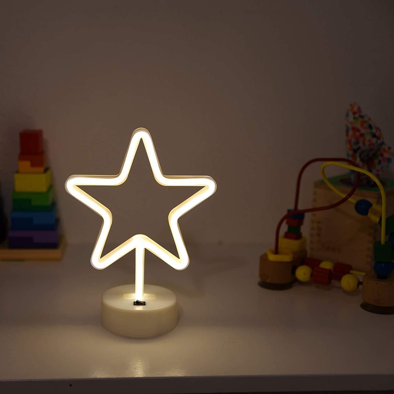 sala de estar luz de ne/ón para decoraci/ón de Navidad cumplea/ños Luz nocturna arco/íris LED de ne/ón con base mesa para ni/ños luces LED de ne/ón con bater/ía o USB fiesta dormitorio