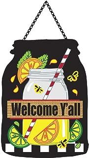 Welcome Y'all Lime and Lemonade 18 x 13 Mason Jar Shape Ribbon Hanger Door Banner