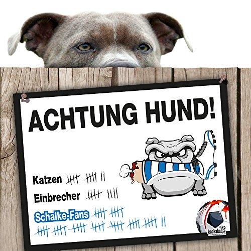 Hunde-Warnschild Schutz vor Schalke-Fans | Dortmund-, Bayern- & alle Fußball-Fans, Dieser Revier-Markiererschützt Haus & Hof vor Schalke-Fans | Spaßgarantie | Achtung Vorsicht Hund Bissig
