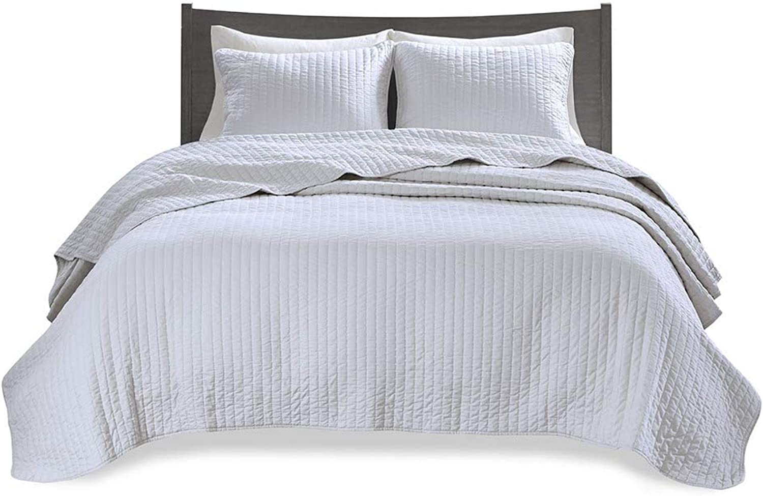 Madison Park Keaton Full Queen Size Set-White, 3 Piece Ultra Soft Microfiber Bed Quilted Coverlet