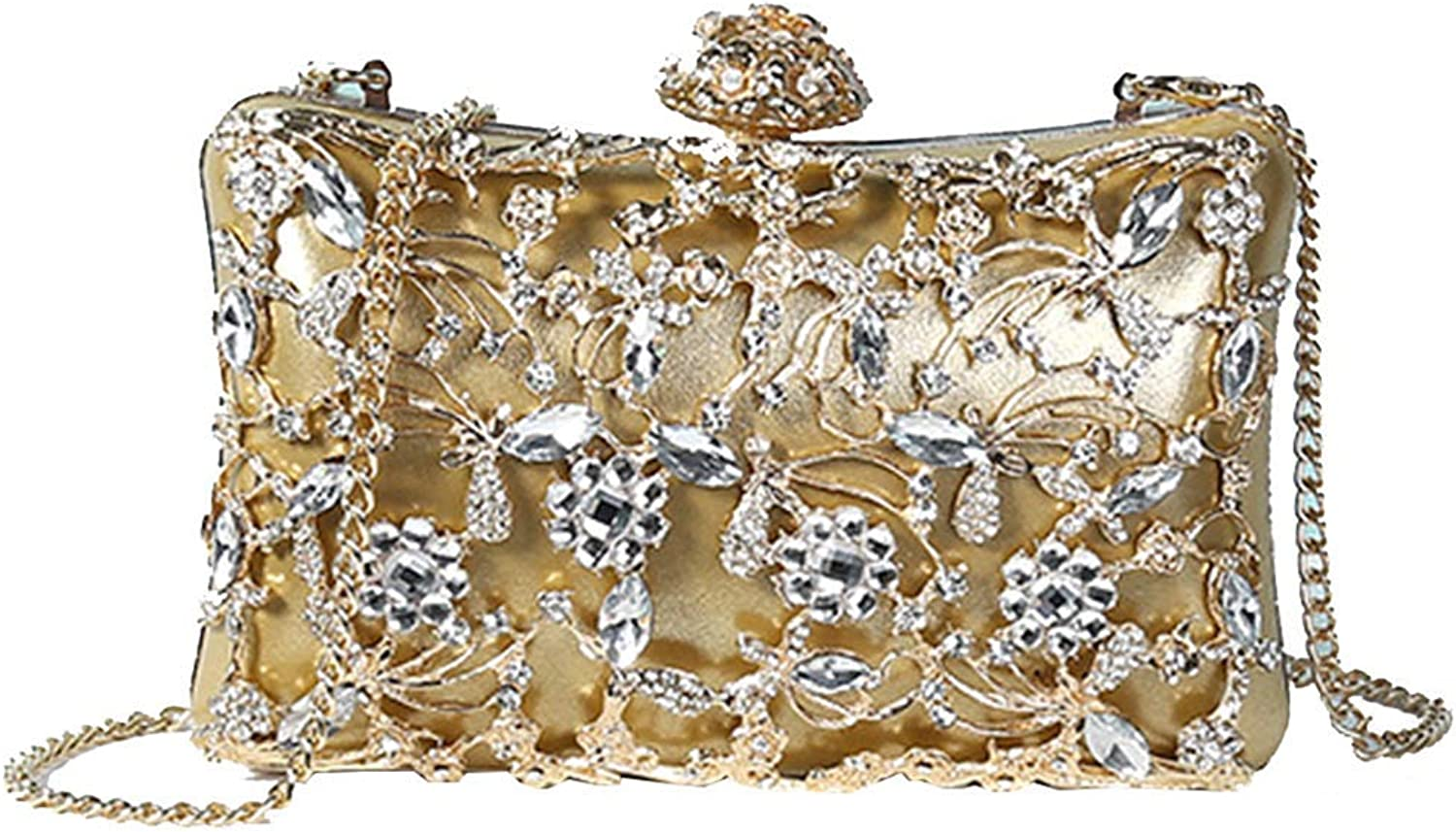 Soft Clutch  Noble Evening Bag for Ladies and Girls  Rhinestone Handbag with Lock  Ideal for A Party Or Wedding  Glittering,Multiple Colour,gold,22Cm4.5Cm11.5Cm Handbag
