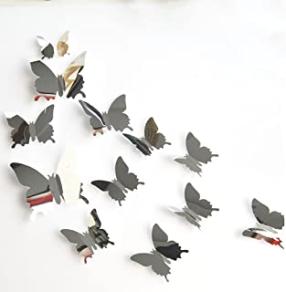 Fang-Ling 12PCS Butterflies Silver Mirror Wall Stickers,Decoration Home Room Art,3D DIY Self-Adhesive Wall Stickers,Environmentally Friendly Wallpaper,Light Durable,3 Size (Silver)