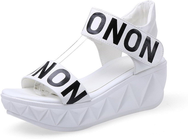 WeenFashion Women's Cow Leather Assorted colors Hook-and-Loop Open Toe Kitten-Heels Sandals
