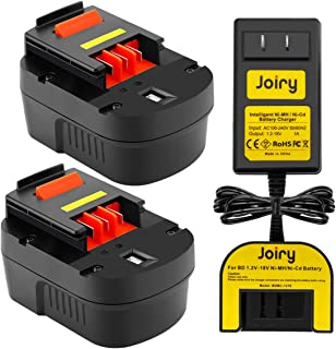 Joiry 2-Pack 12V 3500mAh Ni-MH Replacement Battery Compatible with Black and Decker Firestorm FS120B A1712 FSB12 HPB12 A12 A12EX A12-XJ FS120BX (Include 1.2V-18V Ni-MH/Ni-Cd Battery Charger)