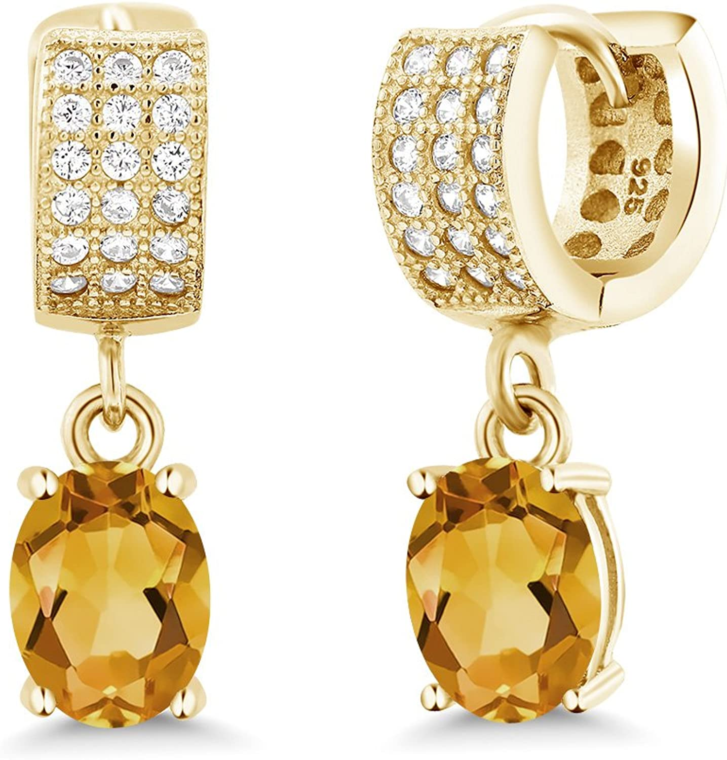 3.17 Ct Oval Yellow Citrine 18K Yellow gold Plated Silver Earrings