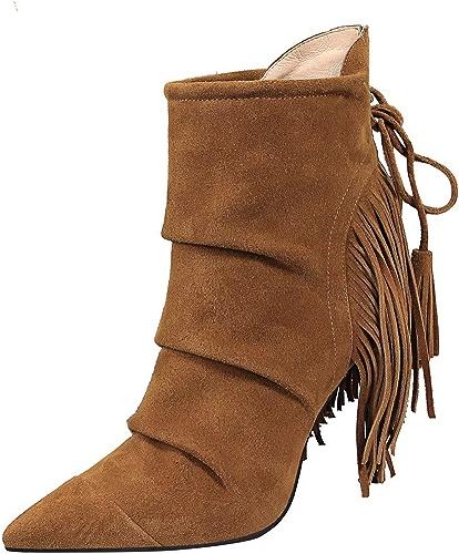 HBDLH Chaussures pour Femmes De Retour De Franges Les Bottes La Hauteur du Talon 9Cm Rétro Sexy Slim Bien des Talons Rides Daim Pointu Knight Bottes