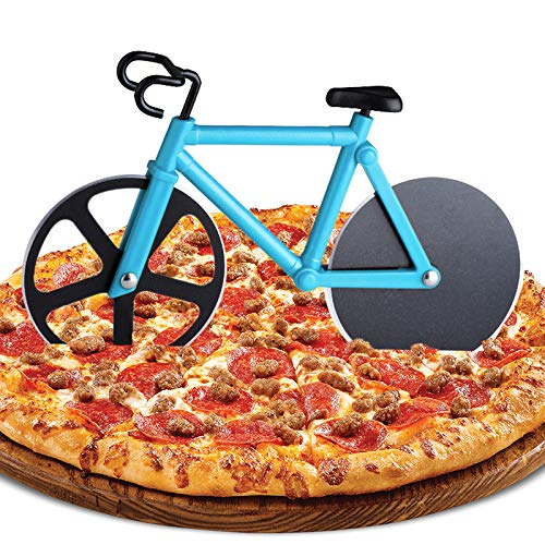 ZAWTR Bicycle Pizza Cutter, Bike Pizza Cutter Novelty Pizza Wheel Slicer, Dual Stainless Steel Pizza Knife Super Sharp Blades with Non-Stick Coating & Kickstand, Kitchen Gadgets Party Supplies (Blue)