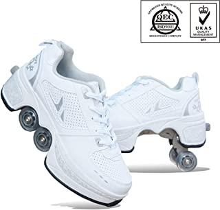 2-in-1 Multifunction Retractable Pulley Roller Skate Shoes With Double Wheels Waterproof, Breathable Automatic Retractable Inline Technical,White-32