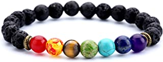 Men Women 8mm Lava Rock 7 Chakra Aromatherapy Essential Oil Diffuser Bracelet Elastic Natural Stone Yoga Beads Bracelet Bangle-21001