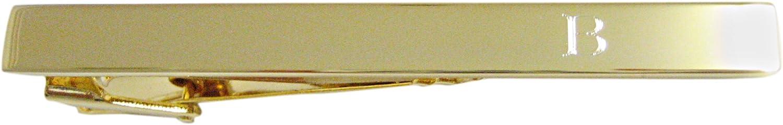 Gold Toned Etched Letter B Monogram Square Tie Clip