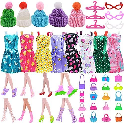 XKMY Vestidos para muñeca 40 unidades/set Barbie muñeca accesorios = 10 ropa de muñeca+5 zapatos de muñeca+5 gafas+10 perchas+5 gorros+5 bolsas para zapatos de muñeca Barbie (color 40 piezas)