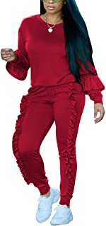 Women's Two Piece Outfits Ruffle Sleeve Sweatshirt and Long Pants Tracksuit