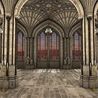 Amxxy 10x10ftゴシック様式の大聖堂のインテリア写真用の3D背景照明キャンドル雄大な対称ビュー古代のアーチ歴史的建造物の柱の背景写真ブースの小道具