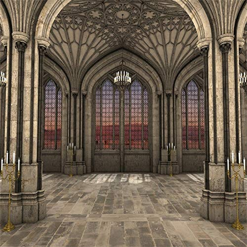 GoEoo 8x8ft Gothic Cathedral Interior 3D Backdrop for Photography Lighting Candles Majestic Symmetrical View Ancient Arch Historical Building Pillar Background Photo Booth Props