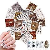 Mwoot 19 Hojas Arte de uñas Pegatinas Conjunto Etiquetas engomadas del Arte del Clavo de la Ojo de leopardo Diseño 3D Manicura Consejos Calcomanías Envolturas para Mujeres