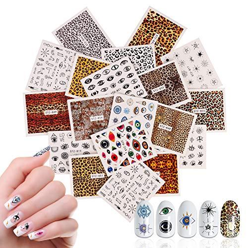 19 Blatt Leopard Eye Nails Art Stickers, Mwoot Nagelsticker Aufklber Fingernägel 3D Design Nail Art Tipp Maniküre Decals Abziehbild DIY Dekoration