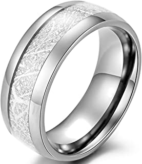 Mens 8mm Silver Stainless Steel Vintage Meteorites Pattern Wedding Engagement Band Domed Ring