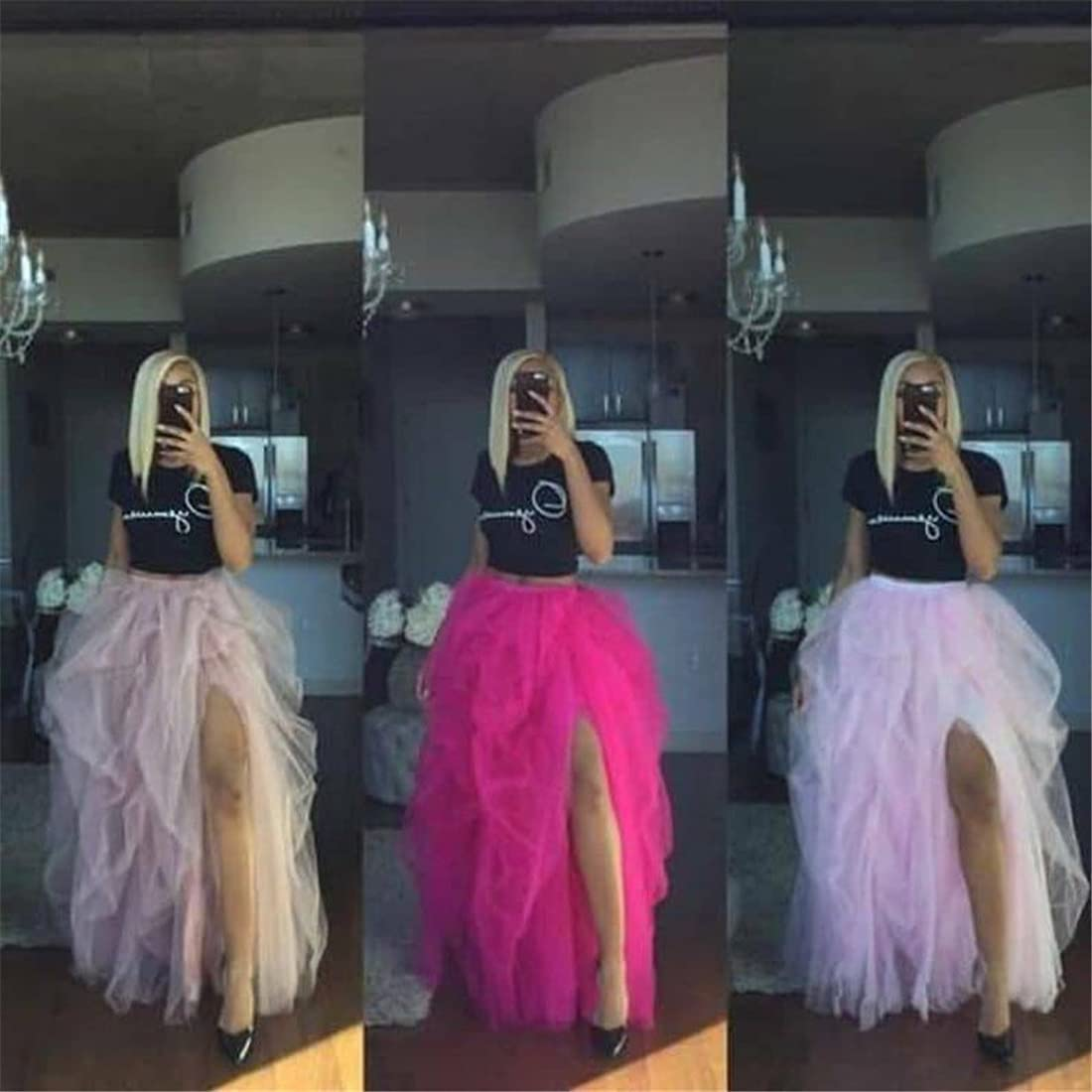 Floor Length Layered High Waist Long Maxi Tulle Skirt Wedding Planning Special Occasion Bustle Night Out Skirts