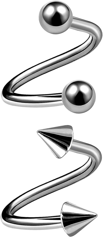 MATIGA 2Pcs Titanium 16g Spiral Barbell Piercing Jewelry Tragus Helix Lip Cartilage 3mm Ball Cone More Choices