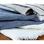 "Linen Bath Towel - Softened and Stonewashed - Grey Towel - 30"" x 58"" - Natural Organic Eco 100% Flax Fabric - Ideal as Bath, Sauna, Spa, Beach Towel (Grey) Closeup Fabric Textures"