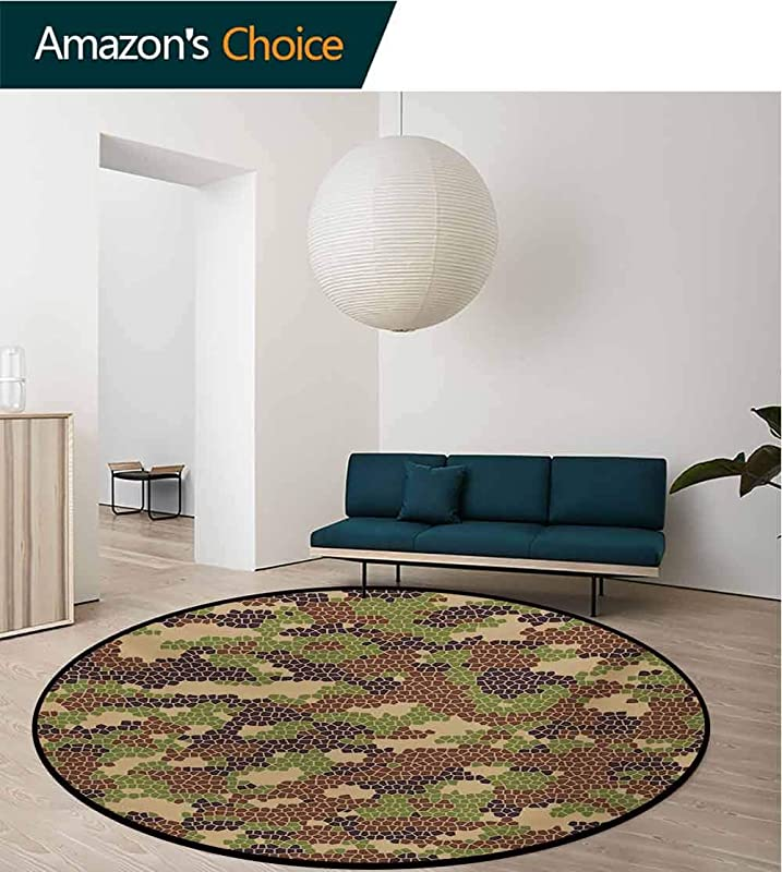 RUGSMAT Camo Small Round Rug Carpet Summer Season Pattern Abstract Concept Comb Like Mosaic Form Illustration Door Mat Indoors Bathroom Mats Non Slip Diameter 24 Inch Green Brown Dark Brown