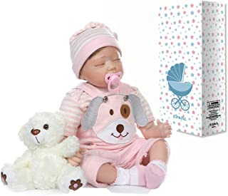 Sweet Dreams 22inch 55cm Reborn Baby Dolls Soft Silicone Limbs and Cloth Body Real Touch Bear Toys Set (II)