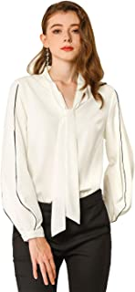 Allegra K Women's Tie V Neck Contrast Piped Long Sleeves Work Solid Blouse Top