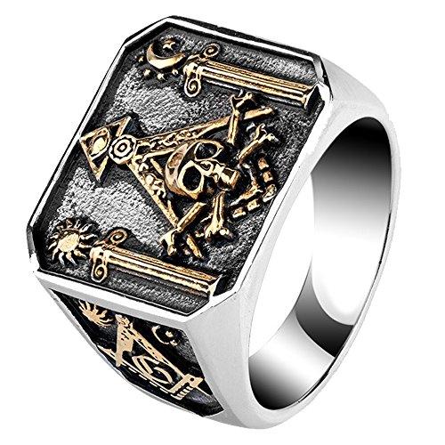 FORFOX Herren Titan Freimaurer Illuminati Ring Säulen & Totenkopf & Knochen Rose Gold Ton 62