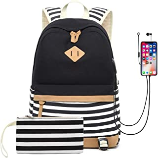 "Waterproof Canvas Backpack for College Girls Women USB Charging Port Fits 14"" Laptop Backpack Daypack School Bookbag"