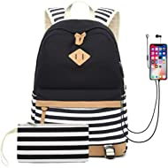"""Waterproof Canvas Backpack for College Girls Women USB Charging Port Fits 14"""" Laptop Backpack..."""