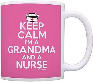 Nurse Appreciation Gifts Keep Calm I'm a Grandma and Nurse Mothers Day Gift Coffee Mug Tea Cup Pink
