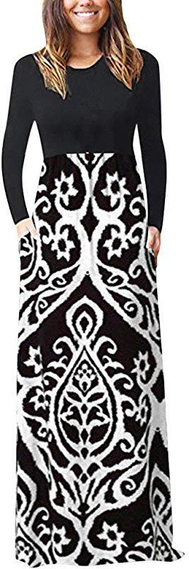 Jin Co Women Casual Tank Dress Long Sleeve O Neck Floral Printed Elegant Long Maxi Dress Beach Dress