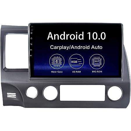 "Dasaita 10.2"" Android 10 Radio for Honda Civic 2006 2007 2008 2009 2010 2011 bluetooth Wireless Carplay Stereo GPS Navigation Head Unit Video Player 4G 64G PX6 DSP WiFI 1280X720 HD Android Auto"