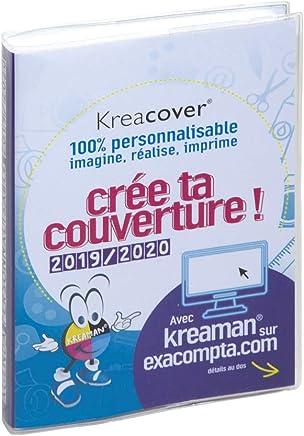 Exacompta Forum Kreacover 18491E Agenda journalier broché Août 2019 à Juillet 2020 couverture amovible en PVC transparent personnalisable 12 x 17 cm