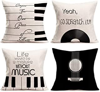 Easternproject Set of 4 Simple Music Throw Pillow Covers Bla