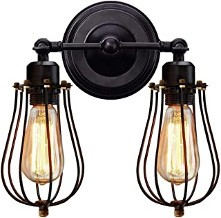KingSo Wall Sconce 2 Light Metal Industrial Wire Cage Wall Light Fixture Vintage Style Edison Rustic Wall Lamp for Headboard Bedroom Farmhouse Garage Door Porch