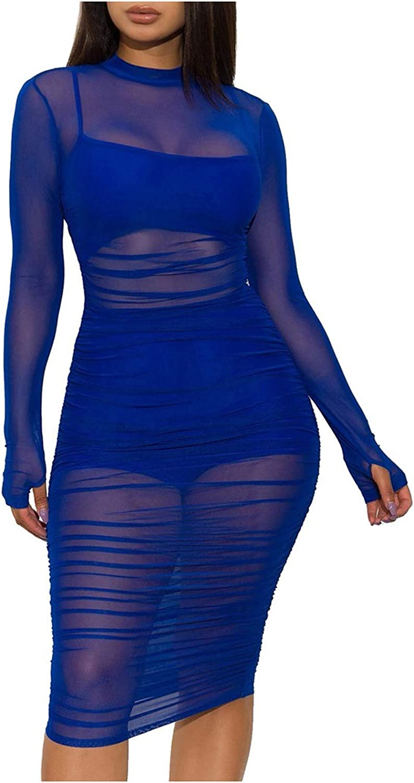 Women Sexy See Through Dress Suit 3 Pcs Set Solid Color Mesh Dress Night Out Club Dress Vest and Shorts Set Vestidos